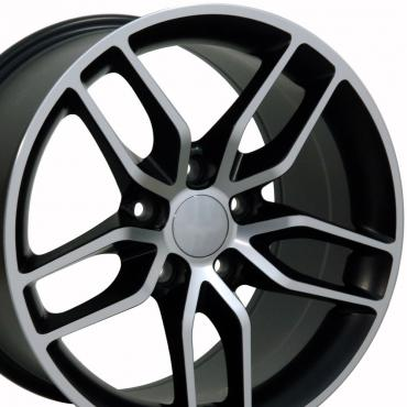 Matte Black Machined Face Wheel fits Corvette (Stingray style) 17x9.5