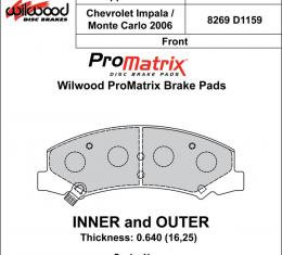 Wilwood Brakes Street Performance / Racing Pads - Plate: D1159 - Compound: PM - ProMatrix 150-D1159K