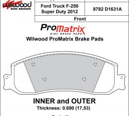 Wilwood Brakes Street Performance / Racing Pads - Plate: D1631A - Compound: PM - ProMatrix 150-D1631AK