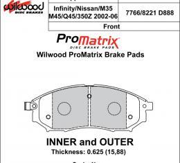 Wilwood Brakes Street Performance / Racing Pads - Plate: D888 - Compound: PM - ProMatrix 150-D0888K
