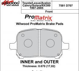 Wilwood Brakes Street Performance / Racing Pads - Plate: D707 - Compound: PM - ProMatrix 150-D0707K