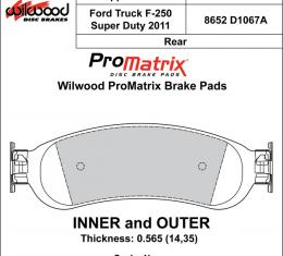Wilwood Brakes Street Performance / Racing Pads - Plate: D1067A - Compound: PM - ProMatrix 150-D1067AK