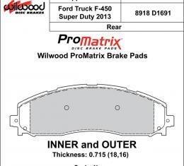 Wilwood Brakes Street Performance / Racing Pads - Plate: D1691 - Compound: PM - ProMatrix 150-D1691K