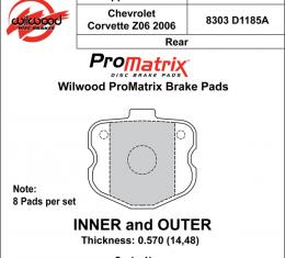 Wilwood Brakes Street Performance / Racing Pads - Plate: D1185A - Compound: PM - ProMatrix 150-D1185AK