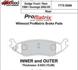 Wilwood Brakes Street Performance / Racing Pads - Plate: D898 - Compound: PM - ProMatrix 150-D0898K