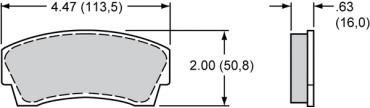 Wilwood Brakes High-Temperature Racing Pads - Plate: 8716 - Compound: PolyMatrix H 15H-8121K