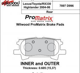Wilwood Brakes Street Performance / Racing Pads - Plate: D996 - Compound: PM - ProMatrix 150-D0996K