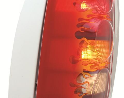 GT Styling 972366, Tail Light Cover, Pro-Beam (TM), Flames, Clear, Plastic, Set Of 2
