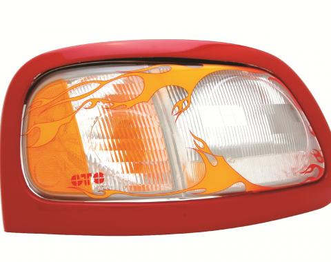 GT Styling 968096, Headlight Cover, Pro-Beam (TM), Full Cover, Flames, Clear, Plastic, Set Of 2
