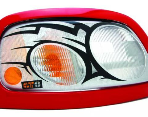 GT Styling 961717, Headlight Cover, Pro-Beam (TM), Full Cover, Tribal, Clear With Black Design, Composilite, Set Of 2