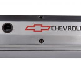 Proform Engine Valve Cover, 2-Piece Tall Style, Die Cast, Polish w/Bowtie Logo, SB Chevy 141-910