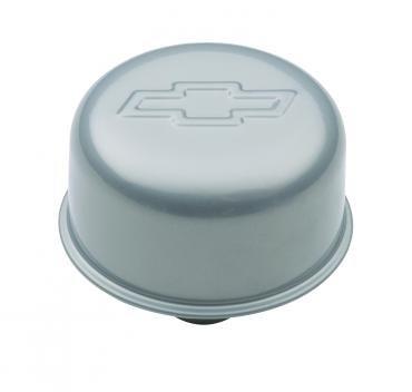 Proform Engine Valve Cover Breather, 3 In Dia, Bowtie Logo, Push-In Style, Metallic Gray 141-365