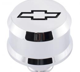 Proform Slant-Edge Aluminum Breather Cap, Recessed Black Bowtie Emblem, Push-In, Chrome 141-852