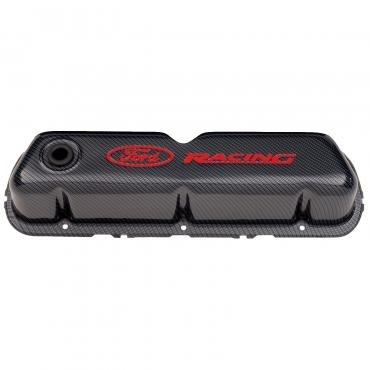 Proform Engine Valve Covers, Tall Style, Steel, Carbon with Ford Logo, For SB Ford 302-008