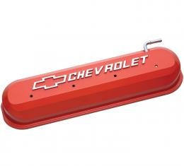 Proform Engine Valve Covers, Tall Style, Die Cast, Orange with Bowtie Logo, LS Engines 141-261