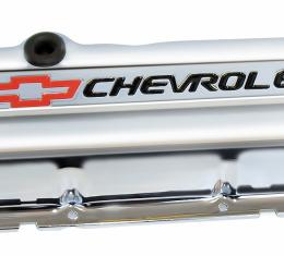 Proform Engine Valve Covers, Stamped Steel, Short, Chrome, w/ Bowtie Logo, Fits BB Chevy 141-812