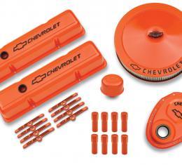 Proform Engine Dress-Up Kit, Orange w/Black Bowtie Logo, Fits SB Block Chevy Engines 141-780