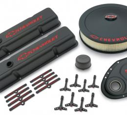 Proform Engine Dress-Up Kit, Black Crinkle Finish, Red Bowtie, Red Letters, For SB Chevy 141-758