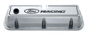 Proform Engine Valve Covers, Tall Style, Die Cast, Polished with Ford Logo, For SB Ford 302-001