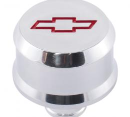 Proform Slant-Edge Aluminum Breather Cap, Recessed Red Bowtie Emblem, Push-In, Polished 141-855