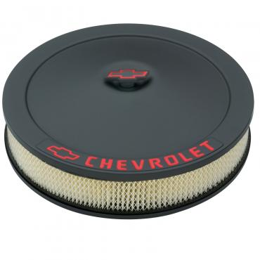 Proform Engine Air Cleaner Kit, 14 Inch Dia, Black Crinkle, Chevy Lettering w/Bowtie Nut 141-752