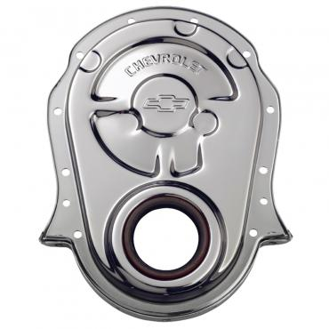 Proform Engine Timing Chain Cover, Chrome, Steel, w/ Chevy and Bowtie Logo, For BB Chevy 141-216
