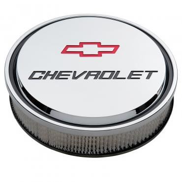 """Proform 14"""" Air Cleaner Kit, Aluminum, Chrome, Recessed Chevy and Bowtie Emblems 141-835"""