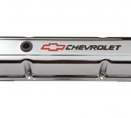 Proform Engine Valve Covers, Stamped Steel, Tall, Chrome, w/ Bowtie Logo, Fits SB Chevy 141-905