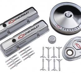 Proform Engine Dress-Up Kit, Chrome w/Red Chevy Logo, Fits SB Block Chevy Engines 141-900