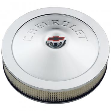 Proform Engine Air Cleaner Kit, 14 Inch Diam, Chrome, Chevy Lettering with Bowtie Nut 141-302