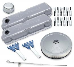 Proform Engine Dress-Up Kit, Chrome w/Embossed Ford Racing Logo, Fits SB Ford Engines 302-515
