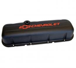 Proform Engine Valve Covers, Stamped Steel, Tall, Black, w/ Bowtie Logo, Fits BB Chevy 141-811