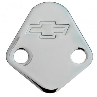 Proform Fuel Pump Block-Off Plate, Chrome with Bowtie Logo, Fits BB Chevy V8 Engines 141-211