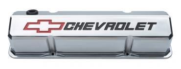 Proform Valve Covers, Slant-Edge Tall, Die Cast, Polish w/Recessed Bowtie Logo, SB Chevy 141-927