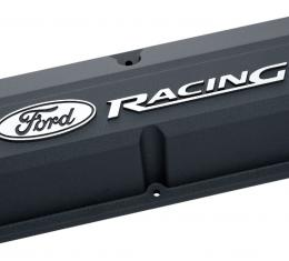 Proform Valve Covers, Slant-Edge Tall, Die Cast, Black with Raised Ford Logo, SB Ford 302-135