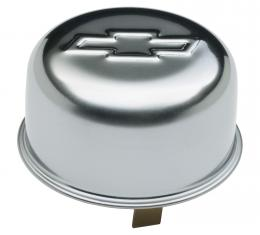 Proform Engine Oil Breather Cap, Push-On Style, 1.82 Hole, Embossed Bowtie Logo, Chrome 141-617