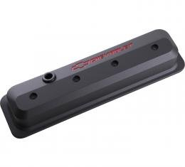Proform Valve Covers, SBC, 87-Pre LS, Ctr Bolt, Tall, Alum, Black Crinkle, Rec Emblems 141-845