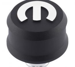 Proform Slant-Edge Aluminum Breather Cap, Raised Mopar Emblem, Push-In, Black Crinkle 440-440
