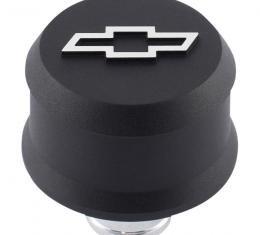 Proform Slant-Edge Aluminum Breather Cap, Raised Bowtie Emblem, Push-In, Black Crinkle 141-858
