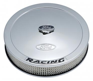 Proform Air Cleaner Kit, Chrome, Embossed Ford Logo with Black Lettering, 13 In. Diam. 302-351