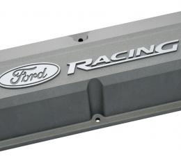 Proform Valve Covers, Slant-Edge Tall, Die Cast, Gray w/Recessed Ford Logo, SB Ford 302-137
