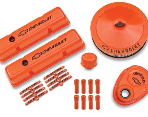 Proform Engine Dress-Up Kit, Orange w/Black Bowtie Logo, Fits SB Block Chevy Engines 141-780