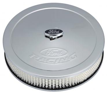 Proform Air Cleaner Kit, Chrome, Embossed Ford Logo, 13 Inch Diameter With Center Nut 302-350