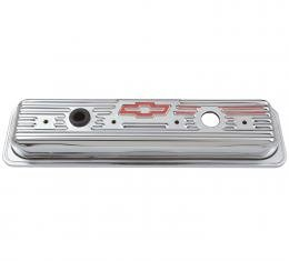 Proform Engine Valve Covers, Center Bolt Style, Steel, Chrome w/Bowtie Logo, SB Chevy 141-107