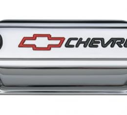 Proform Engine Valve Covers, Stamped Steel, Short, Chrome, w/ Bowtie Logo, Fits SB Chevy 141-899