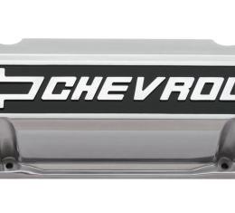 Proform Valve Covers, Slant-Edge Tall, Die Cast, Polished w/Raised Bowtie Logo, SB Chevy 141-920