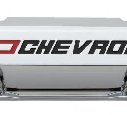 Proform Valve Covers, Slant-Edge Tall, Die Cast, Chrome w/Recessed Bowtie Logo, SB Chevy 141-930
