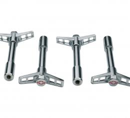 Proform Engine Valve Cover Wing Nuts, Steel, Chrome, Red Bowtie Logo, 1/4-20 Thread, 4pc 141-902