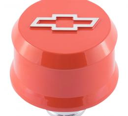 Proform Slant-Edge Aluminum Breather Cap, Raised Bowtie Emblem, Push-In, Chevy Orange 141-859