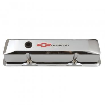Proform Engine Valve Covers, Tall Style, Die Cast, Chrome with Bowtie Logo, For SB Chevy 141-117